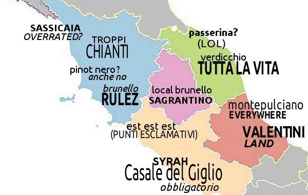 Mappa non ragionata dei luoghi comuni sul vino in Italia. Seconda parte: il centro