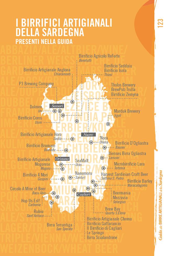 Mappa dei birrifici artigianali della Sardegna