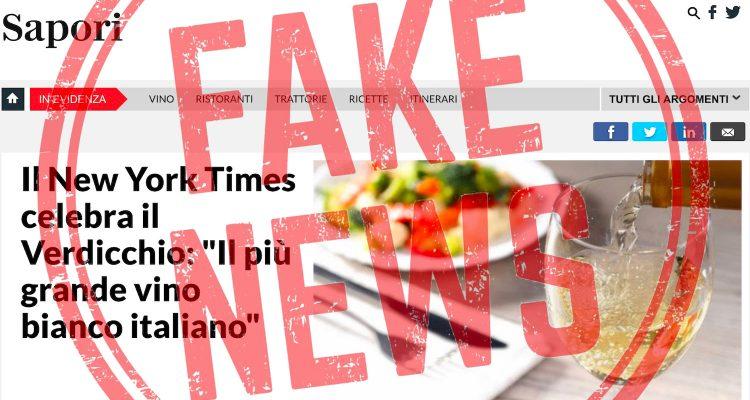 Il New York Times NON ha scritto che il Verdicchio è il più grande vino bianco italiano