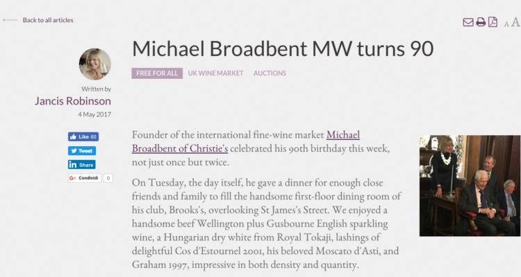 Moscato d'Asti: in Piemonte non lo beve (quasi) più nessuno, Michael Broadbent ci festeggia i 90 anni