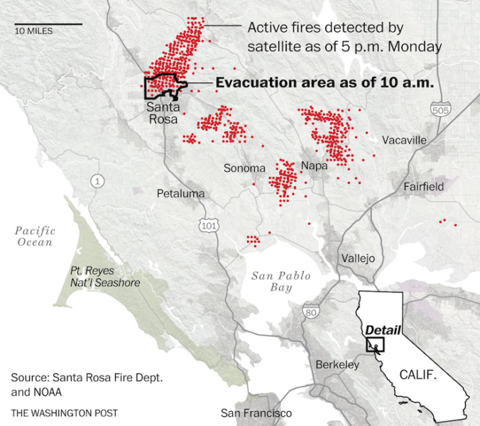 La Napa Valley brucia, le autorità hanno perso il controllo