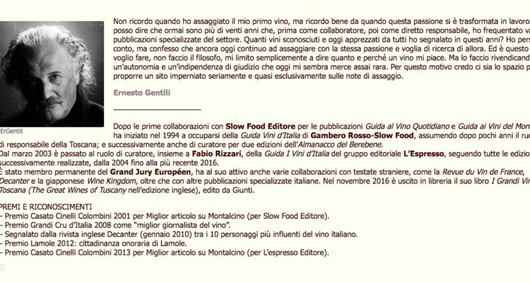 Non so se state seguendo il sito di Ernesto Gentili: si chiama ErGentili – Wine Ratings