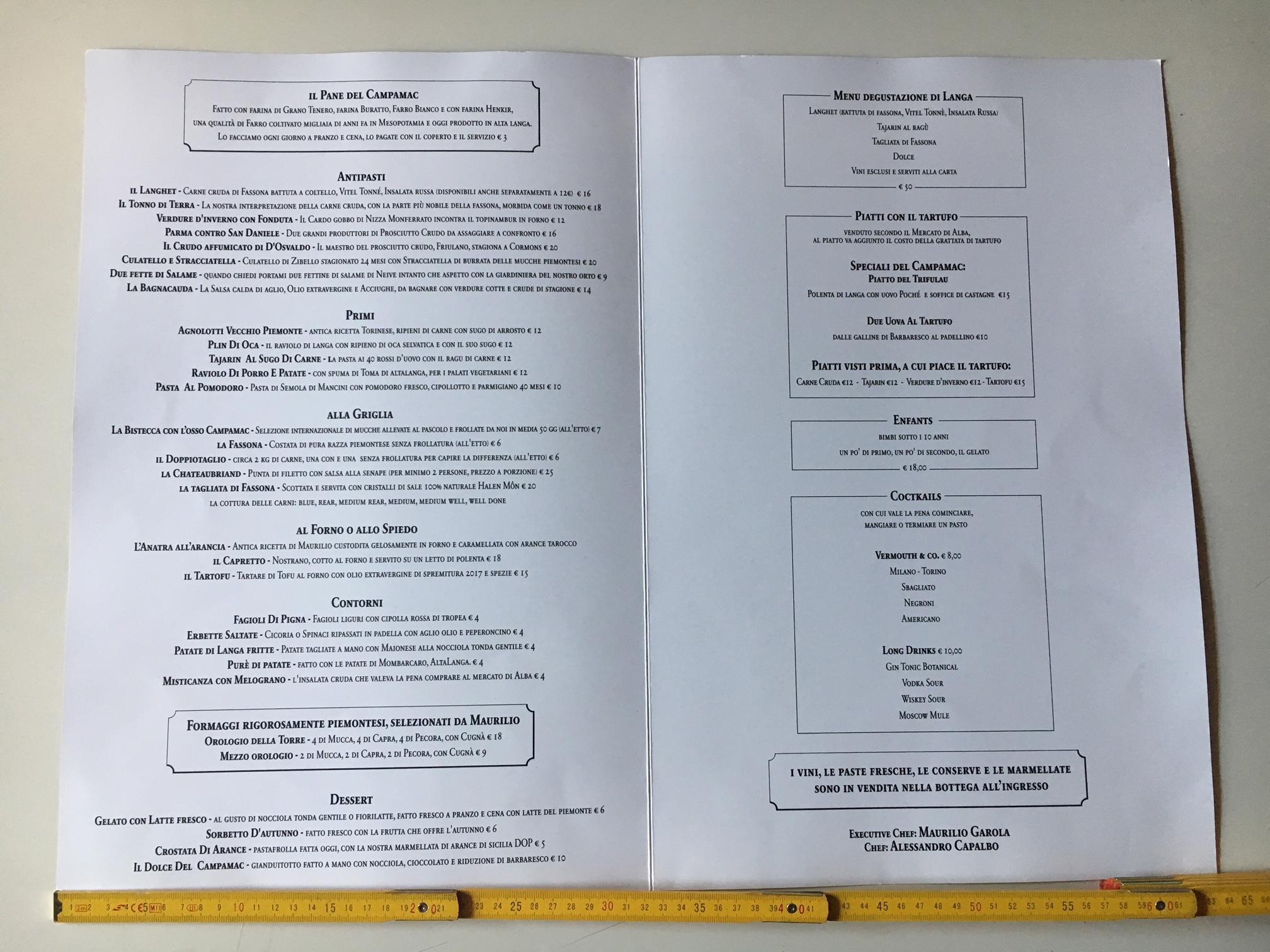 menu campamac
